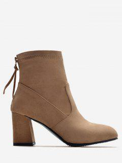 Block Heel Pointed Toe Ankle Boots - Apricot 40