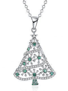 Collar De Gota De árbol De Navidad De Diamantes De Imitación - Plata