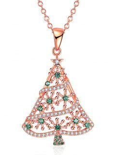 Rhinestones Christmas Tree Drop Necklace - Golden