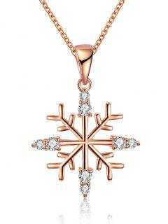 Christmas Snowflake Drop Necklace - Golden