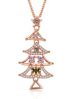 Christmas Triangle Tree Drop Necklace - Golden