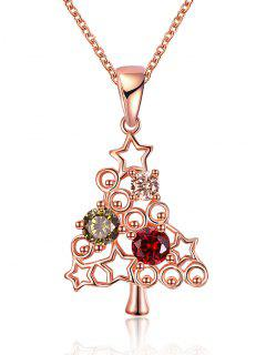 Christmas Tree Rhinestone Drop Necklace - Golden