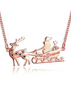 Christmas Reindeer Sleigh Ride Drop Necklace - Golden