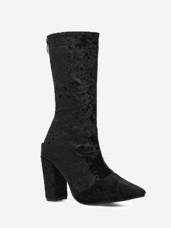 Pointed Toe Block Heel Mid Calf Boots - Black 40