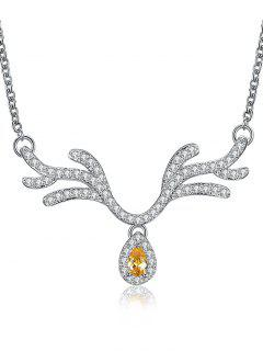 Rhinestone Waterdrop Elk Horn Pendant Necklace - Silver