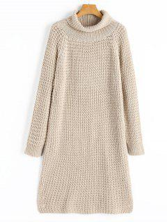 Long Sleeve Turtleneck Slit Sweater Dress - Apricot