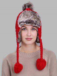 Cable Knit Pom Pom Trapper Hat - Red