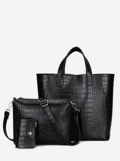 Embossing 3 Pieces PU Leather Handbag Set - Black