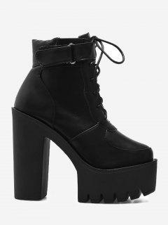 Chunky Heel Platform Ankle Boots - Black 39