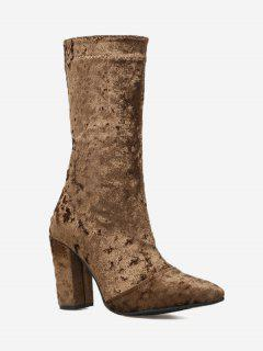 Pointed Toe Block Heel Mid Calf Boots - Brown 36