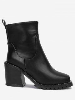Block Heel Square Toe Ankle Boots - Black 34