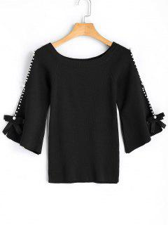 Flare Sleee Faux Pearls Knit Sweater - Black