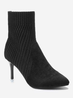 Stiletto Heel Pointed Toe Slip On Boots - Black 39/7.5