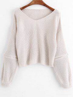 Zippered V Neck Pullover Sweater - White Grey