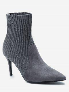 Stiletto Heel Pointed Toe Slip On Boots - Gray 39/7.5
