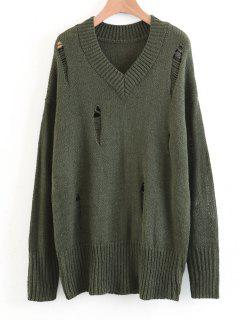 Oversized Destroyed V Neck Sweater - Army Green M