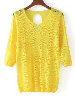 Pullover Mit Drei Vierteln Und Ausgeschnittenem Pullover - Gelb