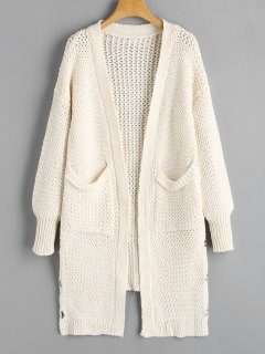 Pockets Lace Up Open Front Cardigan - White