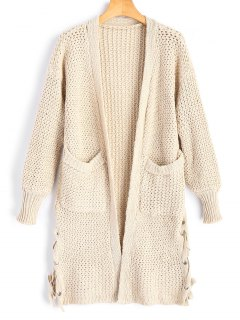 Pockets Lace Up Open Front Cardigan - Apricot