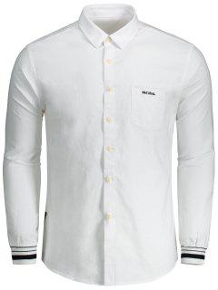Button Fly Letter Embroidery Shirt - White 3xl