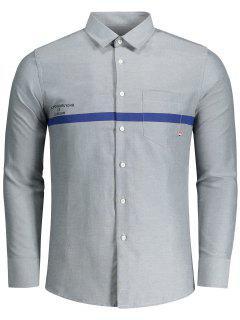 Buchstabe Gedruckt Button Fly Shirt - Grau Xl