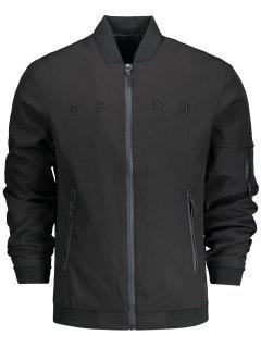 Stand Collar Side Pocket Bomber Jacket - Black 2xl