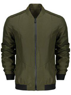 Stand Collar Zip Fly Jacket - Army Green 2xl