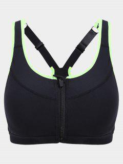 Padded Front Zipper Y Back Sports Bra - Black S