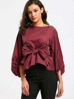 Puff Sleeve Bowknot Self Tie Blusa - Rojo Oscuro