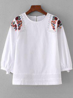 Weite Sheer Blumenstickerei Bluse - Weiß S