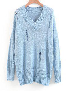 Übergroßer V-Pullover Mit Destroyed-Effekten - Hellblau M