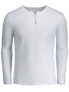 Button Embellished Polo Tee - White 2xl