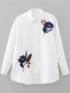 Weite Gestickte Bluse Mit Knopf - Weiß S