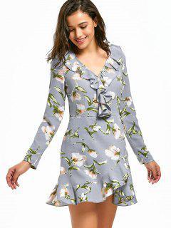 V Neck Ruffle Hem Floral Print Dress - Floral L