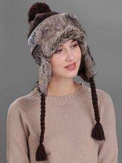 Wave Stripe Pattern Knited Winter Hat - Coffee