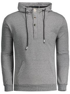 Half Button Heathered Hoodie - Light Gray L