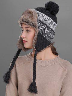 Wave Stripe Pattern Knited Winter Hat - Dark Gray