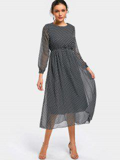 Polka Dot Long Sleeve Chiffon Dress - Dot Pattern S