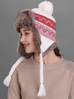 Wave Stripe Pattern Knited Winter Hat - White