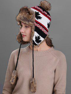 Maple Leaves Pattern Earmuff Winter Hat - Black