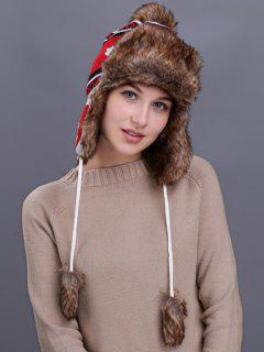 Maple Leaves Pattern Earmuff Winter Hat - White