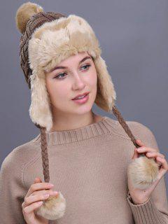 Outdoor Checked Pattern Thicken Trapper Hat - Khaki
