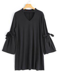Kleid Mit Langarm Und Halsband - Schwarz M