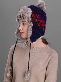 British Flag Pattern Thicken Trapper Hat - Cadetblue