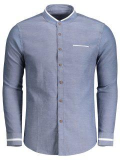 Button Up Stand Neck Shirt - Denim Blue Xl
