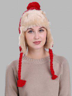 Christmas Snowflake Pattern Thicken Winter Hat - Red