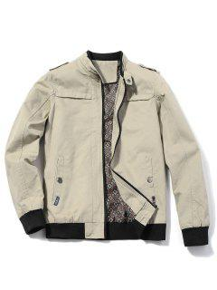 Epaulet Zip Up Jacket - Beige 3xl