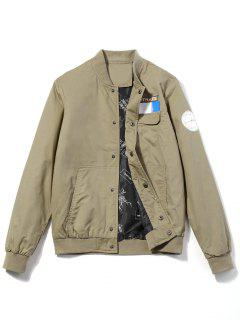 Printed Patch Design Jacket - Khaki 3xl