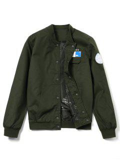 Printed Patch Design Jacket - Army Green L