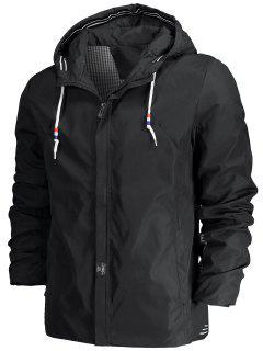 Drawstring Hood Zippered Jacket - Black 3xl